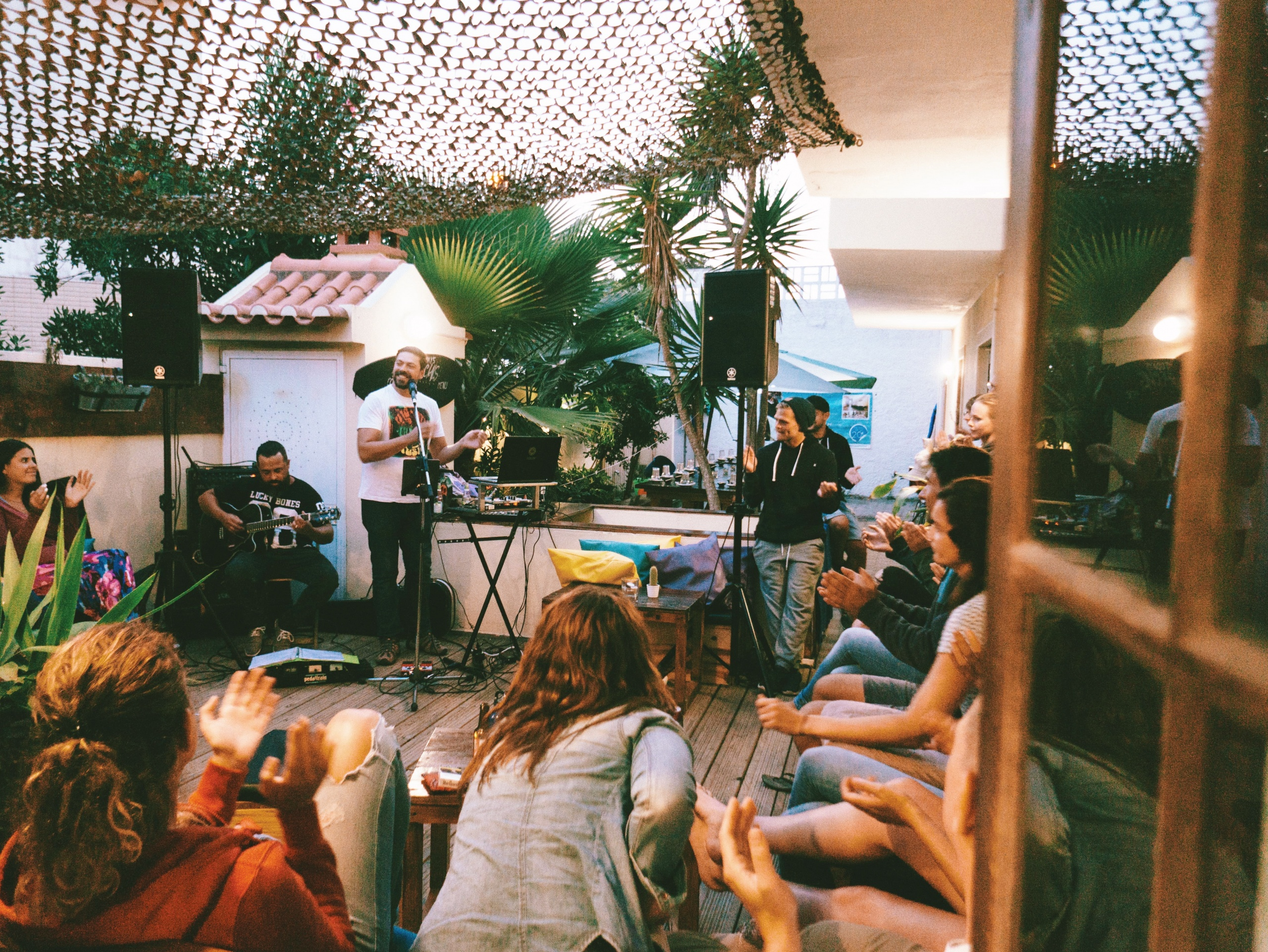 Band playing live in Surf House in Portugal