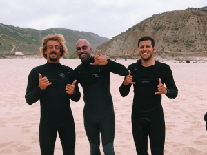 funny surf coaches looking into the camera
