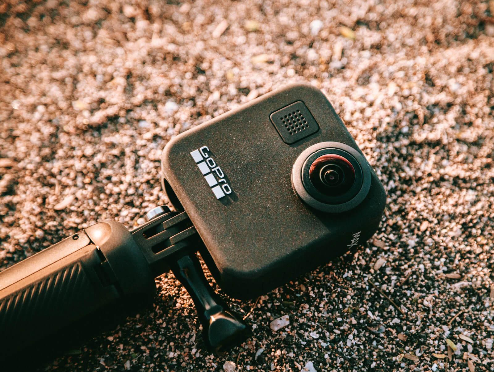 gopro camera in sand