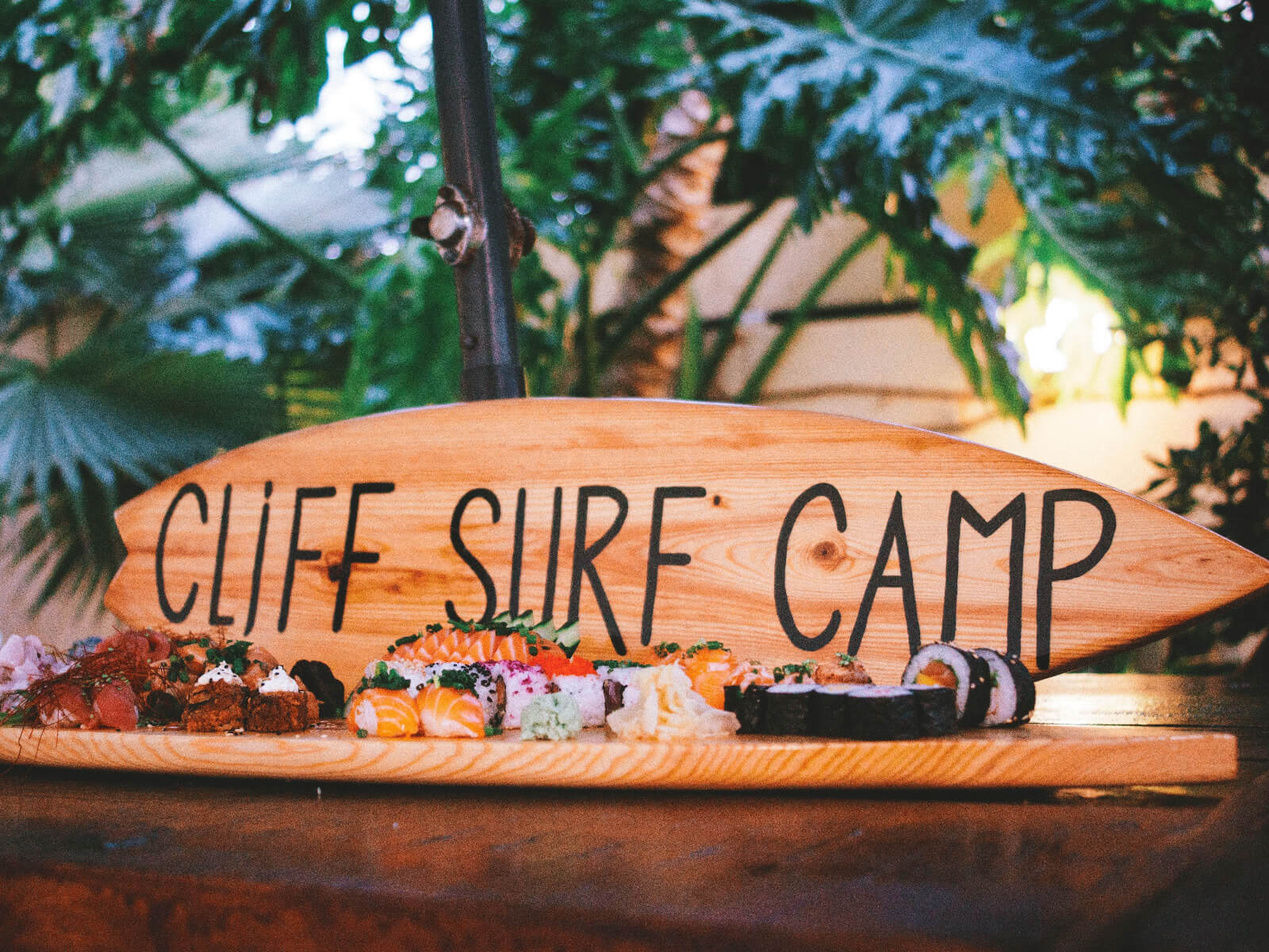 Cliff surf camp sushi plate